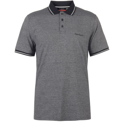 Tricouri polo cu dungi Pierre Cardin Pin Shirt pentru Barbati negru argintiu