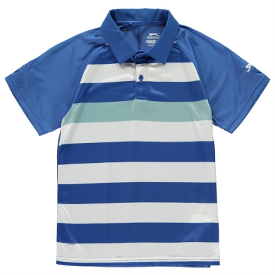 Tricouri polo cu dungi Slazenger Bold Shirt pentru baietei albastru alb