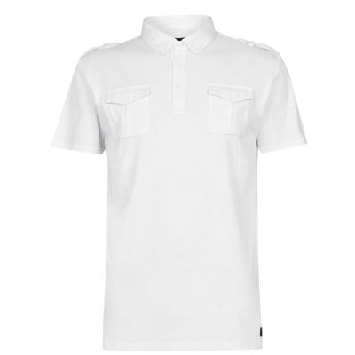 Tricouri polo Firetrap cu buzunar pentru Barbati alb
