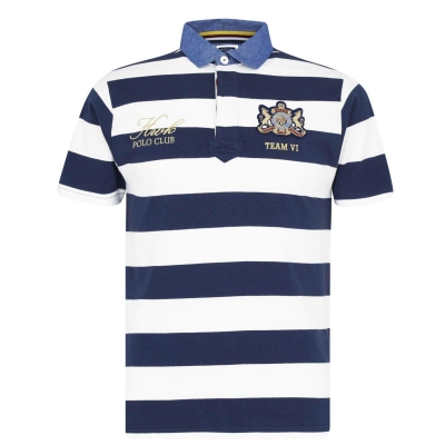 Tricouri Polo Howick cu Maneca Scurta Rugby bleumarin dungi