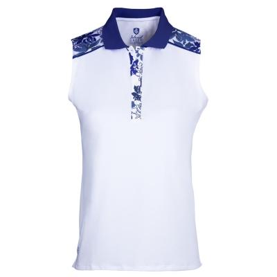 Tricouri polo pentru golf Island verde Print fara maneci pentru Femei alb bleumarin