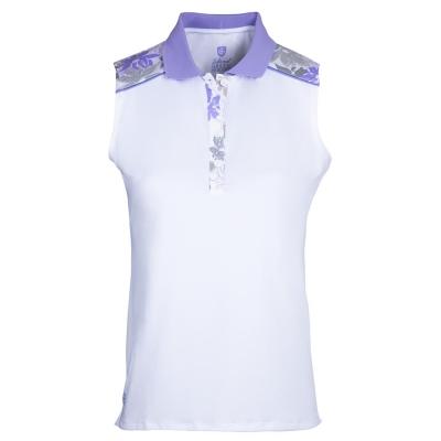 Tricouri polo pentru golf Island verde Print fara maneci pentru Femei alb lav