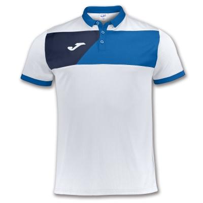 Tricou Joma sport Crew II II alb-royal cu maneca scurta albastru roial
