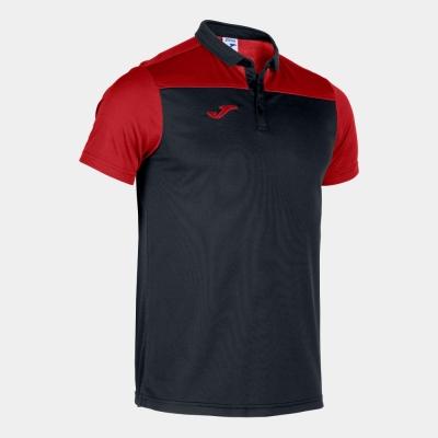 Tricouri Polo Joma Combi negru-rosu cu maneca scurta