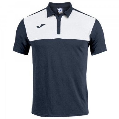Tricouri polo Joma Winner bleumarin inchis-alb cu maneca scurta