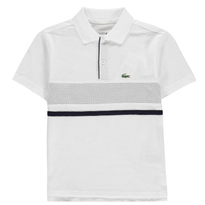 Tricouri Polo Lacoste Chest alb gri