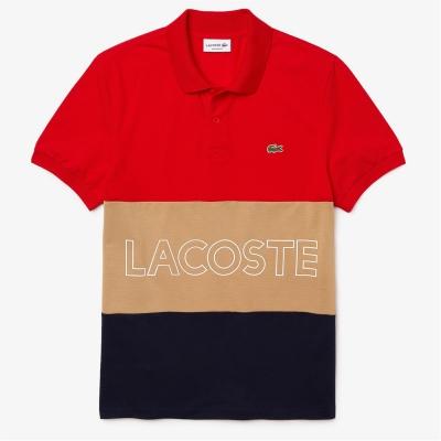 Tricouri Polo Lacoste Colour Block rosu albastru fucsia