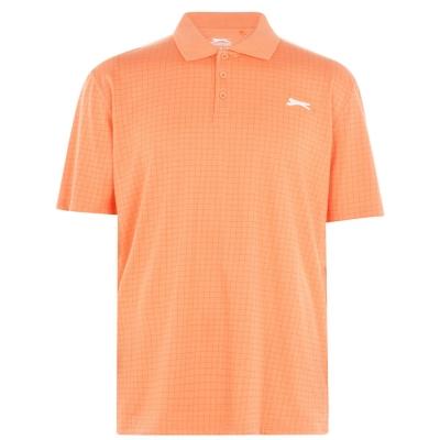 Tricouri polo pentru golf Slazenger Check pentru Barbati portocaliu patratele