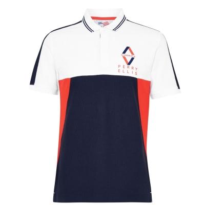 Tricouri Polo Perry Ellis Colour Block bright alb