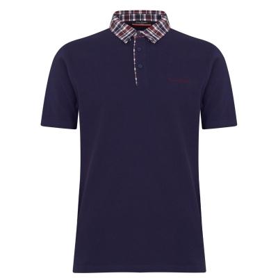 Tricouri Polo Pierre Cardin cu guler cu patratele pentru Barbati bleumarin