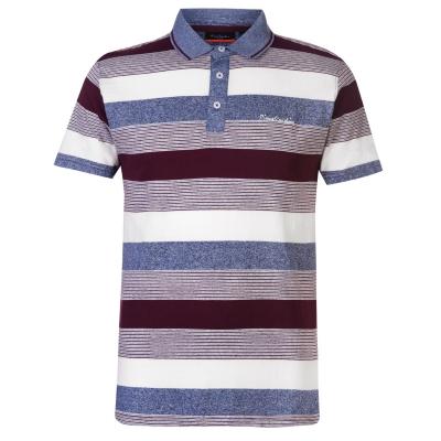 Tricouri Polo Pierre Cardin Dye Jersey pentru Barbati visiniu denim alb