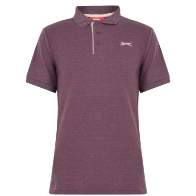 Tricouri polo simple Slazenger pentru Barbati rosu burgundy gri