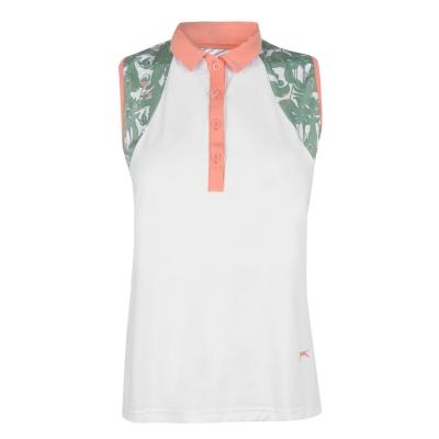 Tricouri Polo Slazenger fara maneci Fashion pentru Femei alb floral