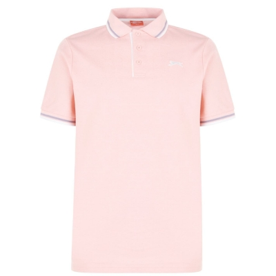Tricouri Polo Slazenger Tipped pentru Barbati deschis roz