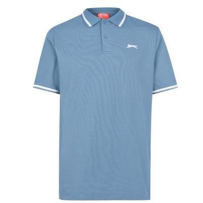 Tricouri Polo Slazenger Tipped pentru Barbati gri albastru