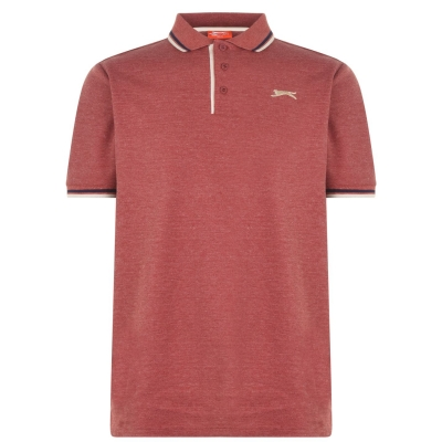 Tricouri Polo Slazenger Tipped pentru Barbati rosu burgundy gri