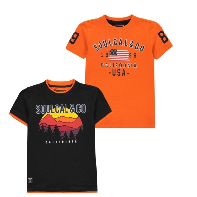 Tricouri Set 2 SoulCal USA pentru baietei bleumarin portocaliu