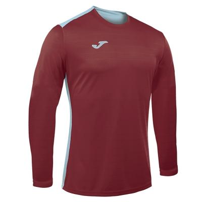 Tricouri sport Joma Campus cu maneca lunga Burgundy-sky albastru visiniu