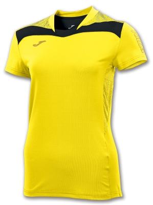 Tricouri sport Joma T- Free galben-negru M/c pentru Femei