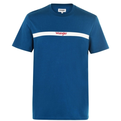 Tricouri Tricou cu logo Wrangler cu dungi - albastru