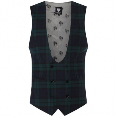Twisted Tailor Ginger Skinny Fit Waistcoat verde