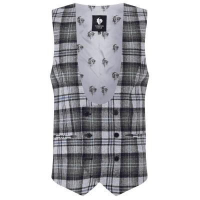 Twisted Tailor Kauf Check Waistcoat gri