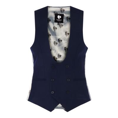Twisted Tailor Plain Waistcoat bleumarin