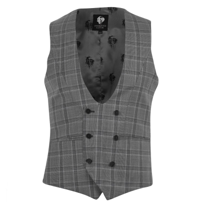 Twisted Tailor Salute Check Waistcoat gri