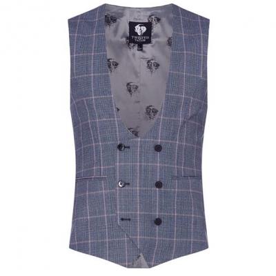 Twisted Tailor Jas Check Waistcoat deschis albastru