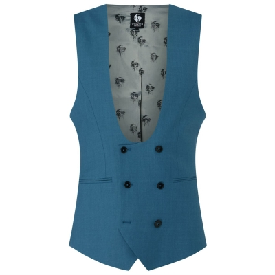 Twisted Tailor Twisted Ellroy Poplin Waistcoat pentru Barbati bleu
