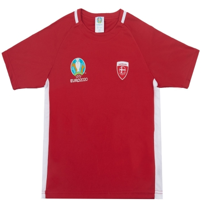 Tricou UEFA Euro 2020 Denmark poliester pentru copii rosu