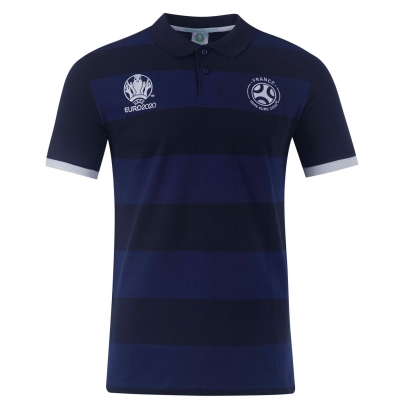 Tricouri polo cu dungi UEFA Euro 2020 Franta pentru Barbati bleumarin albastru