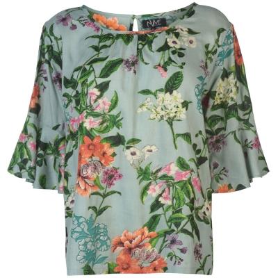 NVME Blair V Top pentru Femei verde floral