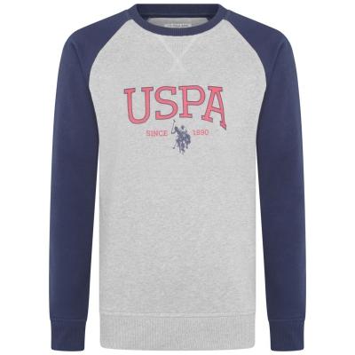 Bluze cu guler rotund US Polo Assn Logo vintage gri