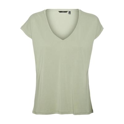 Tricou Vero Moda cu Maneca Scurta cu decolteu in V bej verde