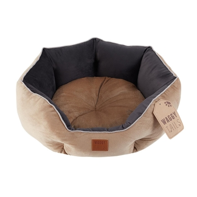 Waggy Tails Corduroy Round caine Bed bej