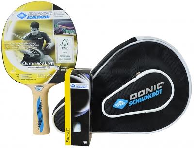 Husa Set Ping Pong DONIC OVTCHAROV 500 / paleta + 3 mingi 788705
