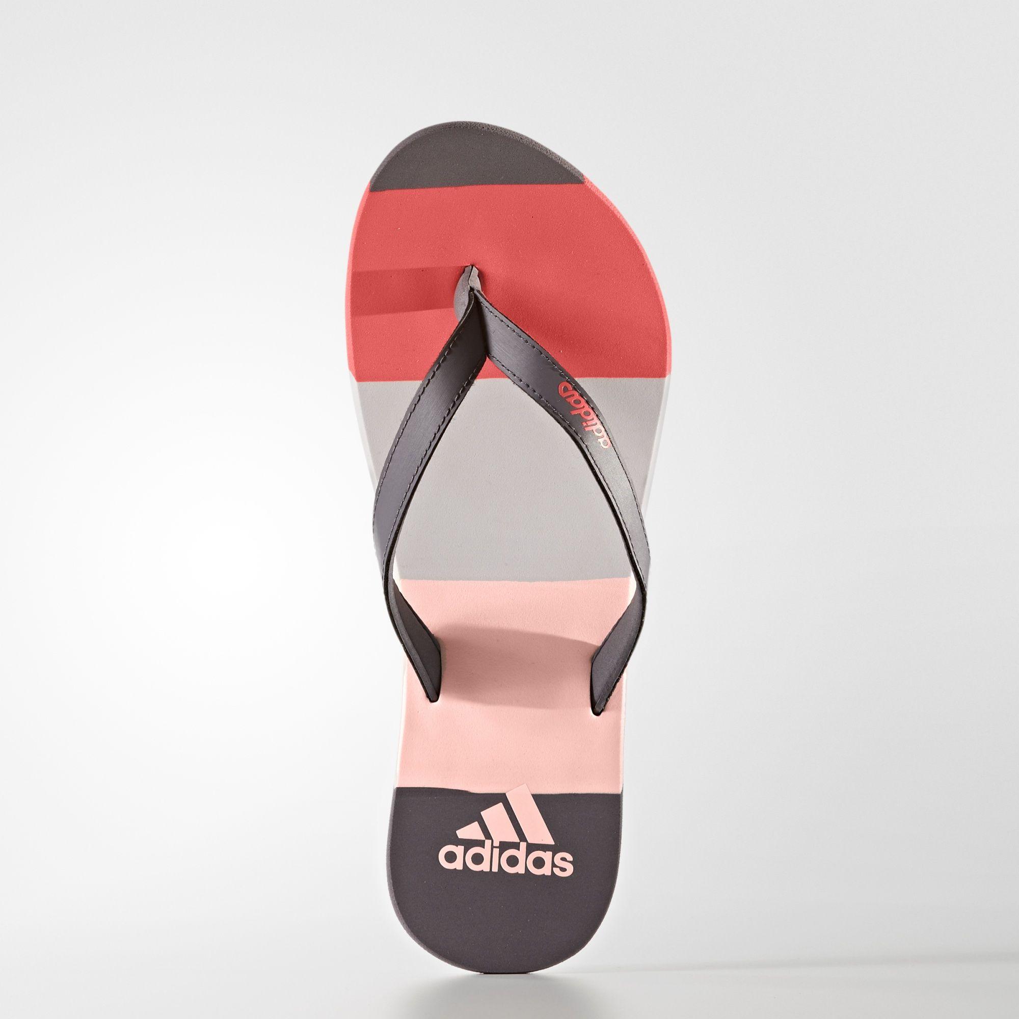 Slapi adidas roz cu gri adidas Eezay Striped Thong S80425 femei