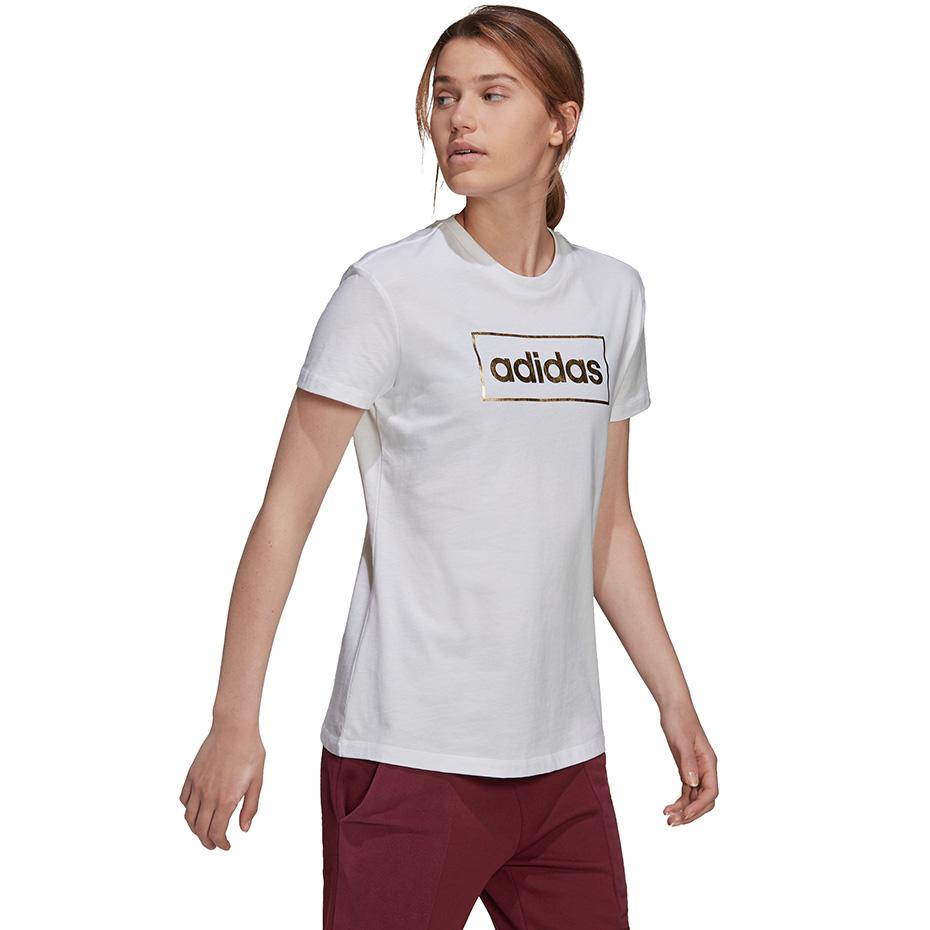 Tricou alb bumbac adidas W FL femei
