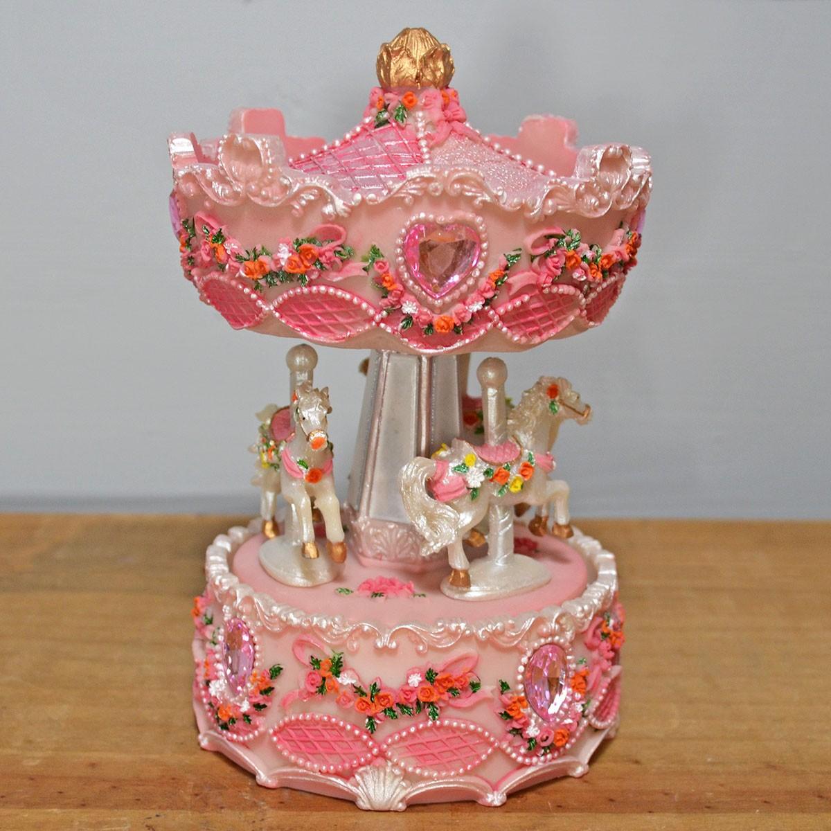 Carusel muzical Roz - Caluti Albi cu Flori