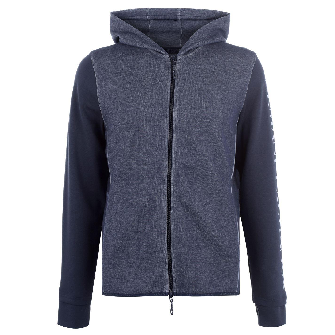 Mergi la Bluza de trening Armani Exchange Logo cu fermoar cu gluga bleumarin
