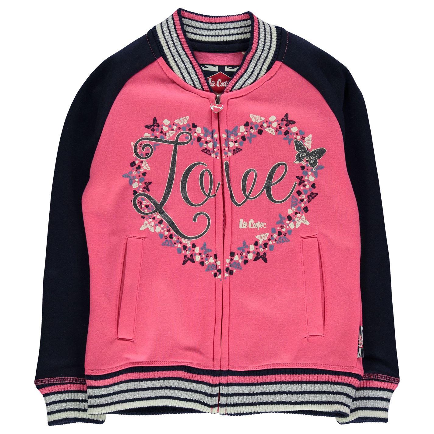 Mergi la Jacheta Lee Cooper Glitzy Baseball pentru fete roz bleumarin