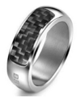 Breil Jewels Cave Collection - Anello Uomo Acc Lucido & Carboniogent Ss & Carbon Fiber Ring Size 19