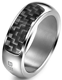 Breil Jewels Cave Collection - Anello Uomo Acc Lucido & Carboniogent Ss & Carbon Fiber Ring Size 21