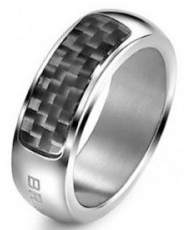 Breil Jewels Cave Collection - Anello Uomo Acc Lucido & Carboniogent Ss & Carbon Fiber Ring Size 23