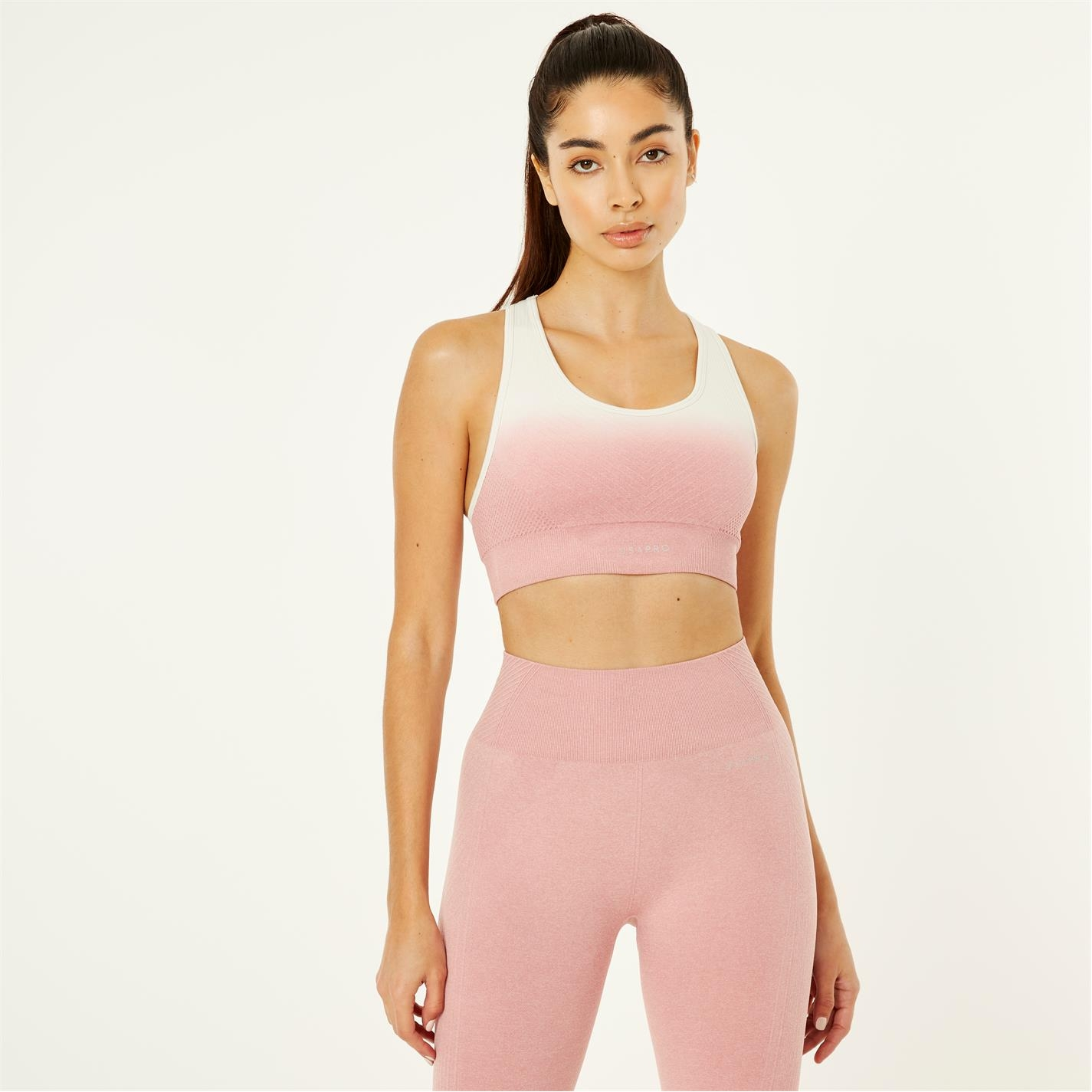 Bustiera sport USA Pro Seamless Ombre roz alb