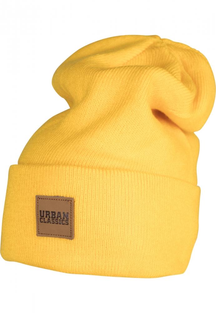 Caciuli beanie cu accesoriu piele galben Urban Classics chrome