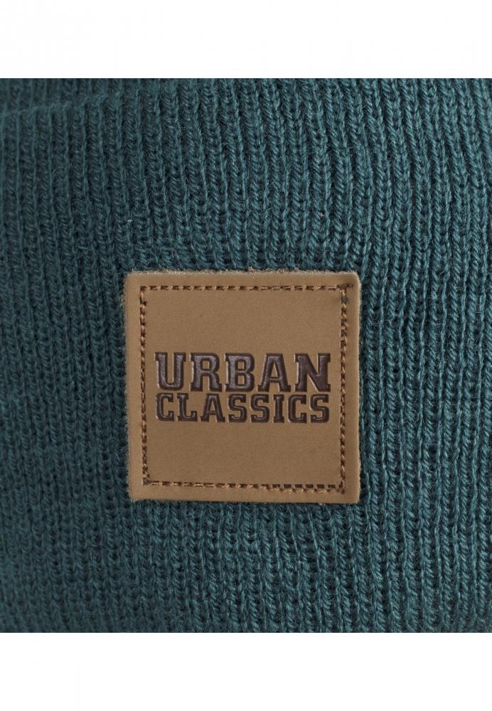 Caciuli beanie cu accesoriu piele verde Urban Classics
