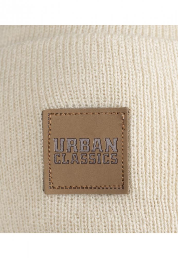 Caciuli beanie cu accesoriu piele bej Urban Classics