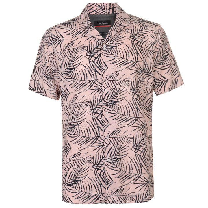 Mergi la Camasa cu Maneca Scurta Pierre Cardin Palm pentru Barbati roz negru